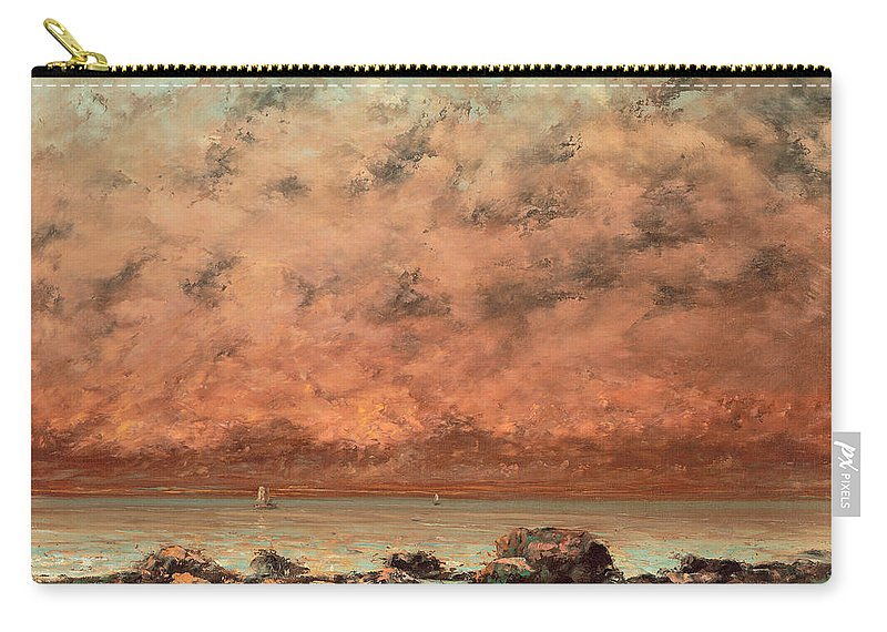 Landscape; Coastal; View; Seascape; Seaside; Coast; France; Normandy; Beach; Sunset; Scene Carry-all Pouch featuring the painting The Black Rocks At Trouville by Gustave Cobert
