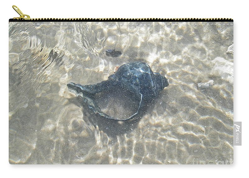 Shell Carry-all Pouch featuring the photograph The Black Seashell by Mother Nature