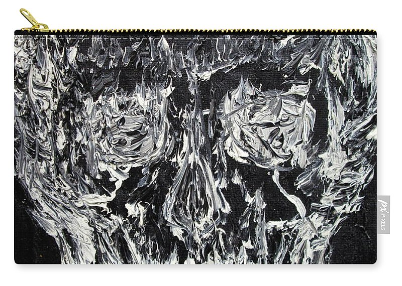 Skull Carry-all Pouch featuring the painting The Black Skull - Oil Portrait by Fabrizio Cassetta