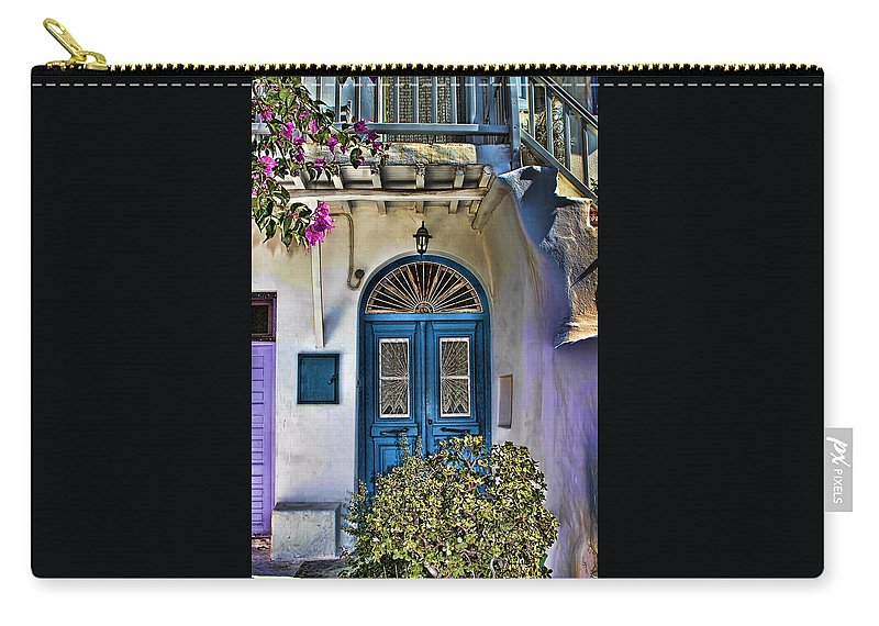 Tom Prendergast Carry-all Pouch featuring the photograph The Blue Door-santorini by Tom Prendergast
