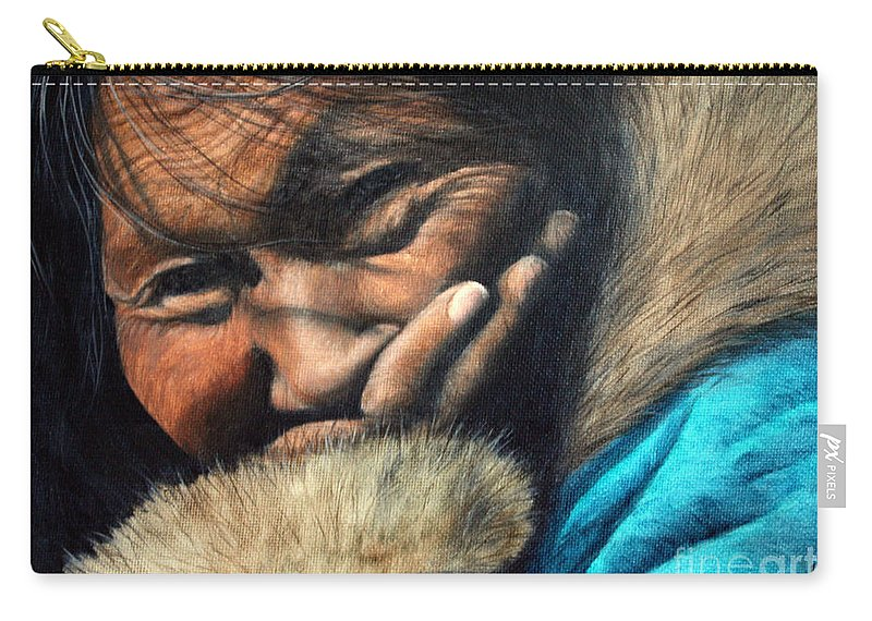 Inuit Carry-all Pouch featuring the painting The Blue Parka by Joey Nash