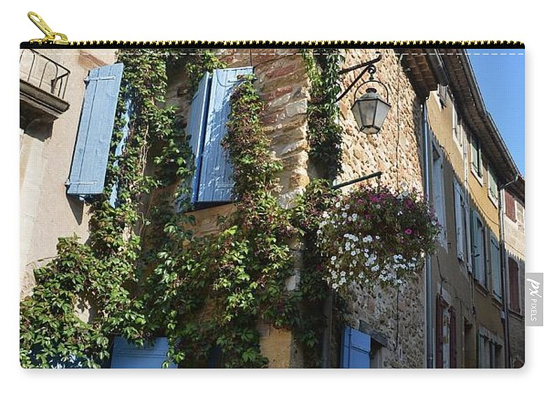 Architecture Carry-all Pouch featuring the photograph The Blue Shutters by Dany Lison