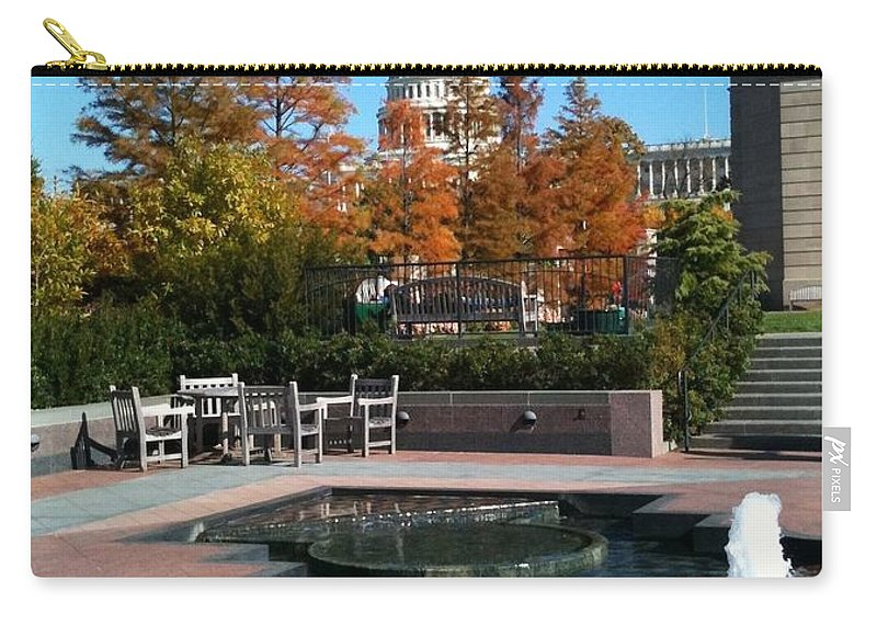 Capitol Carry-all Pouch featuring the photograph The Botanic Garden Fountain by Lois Ivancin Tavaf