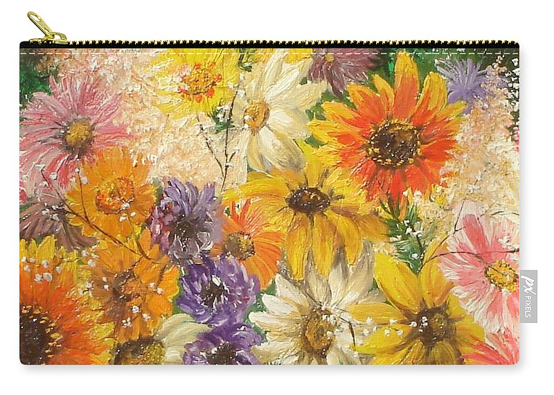 Flowers Carry-all Pouch featuring the painting The Bouquet by Sorin Apostolescu