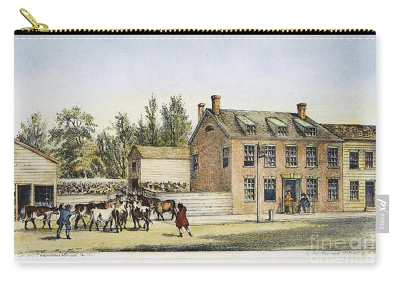 18th Century Carry-all Pouch featuring the photograph The Bowery, New York, 1783 by Granger