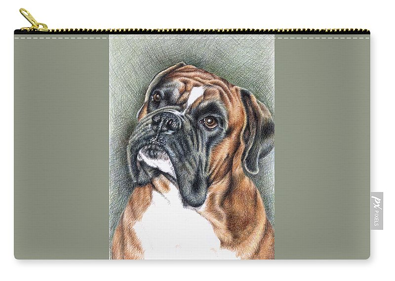 Dog Carry-all Pouch featuring the drawing The Boxer by Nicole Zeug