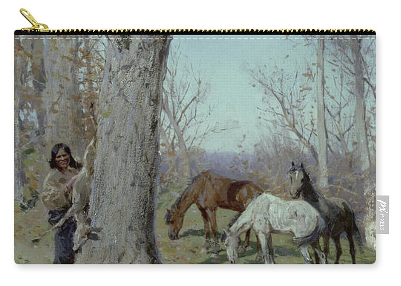 Boy Carry-all Pouch featuring the painting The Boys Breakfast, 1904 by Henry Francois Farny