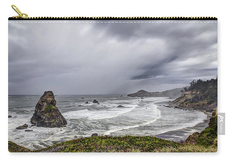 Gold Beach Carry-all Pouch featuring the photograph The Brewing Storm by Debra and Dave Vanderlaan