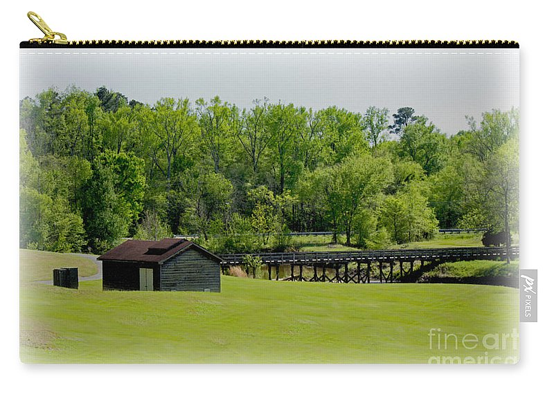 Blue Sky Carry-all Pouch featuring the photograph The Bridge To Home by Sandra Clark