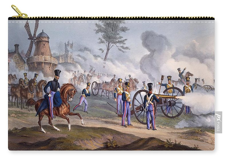 British Royal Horse Artillery Carry-all Pouch featuring the drawing The British Royal Horse Artillery - by English School