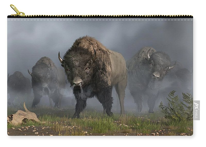 Bison Carry-all Pouch featuring the digital art The Buffalo Vanguard by Daniel Eskridge
