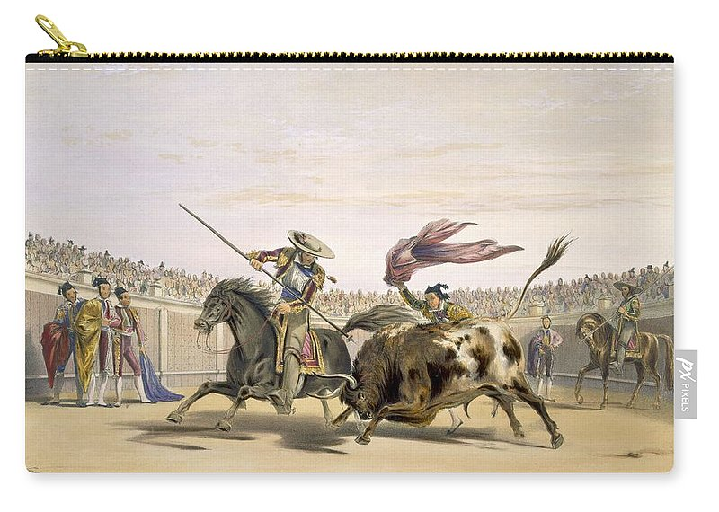 Bullfighter Carry-all Pouch featuring the drawing The Bull Following Up The Charge, 1865 by William Henry Lake Price