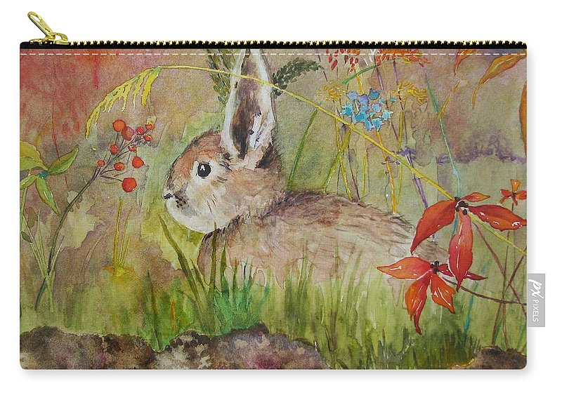 Nature Carry-all Pouch featuring the painting The Bunny by Mary Ellen Mueller Legault