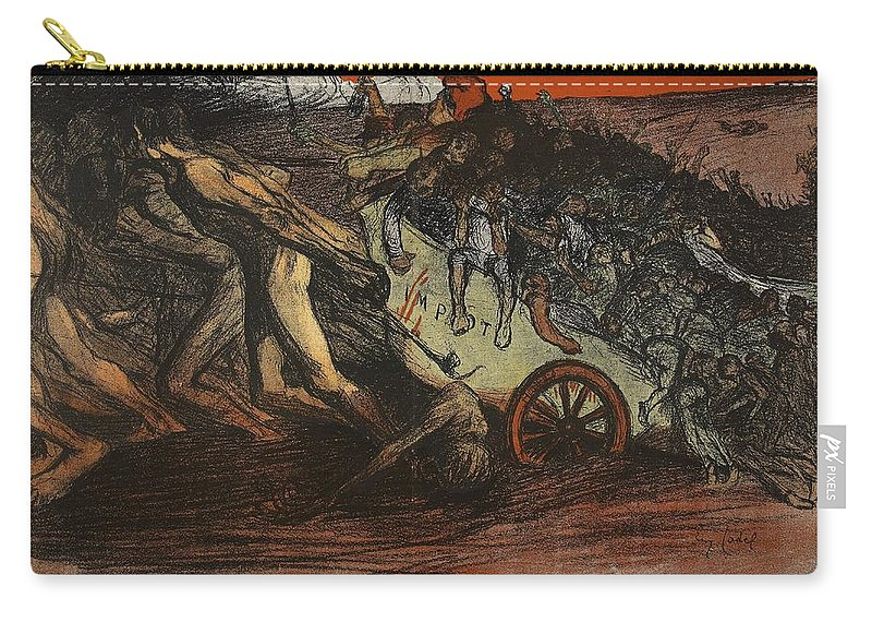 La Sue Carry-all Pouch featuring the drawing The Burden Of Taxation, Illustration by Eugene Cadel
