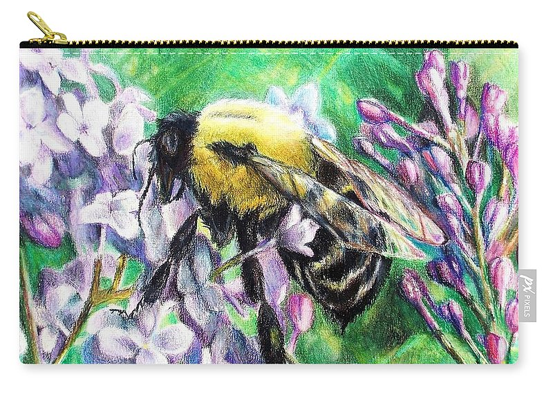 Lilac Carry-all Pouch featuring the painting The Busy Bee And The Lilac Tree by Shana Rowe Jackson