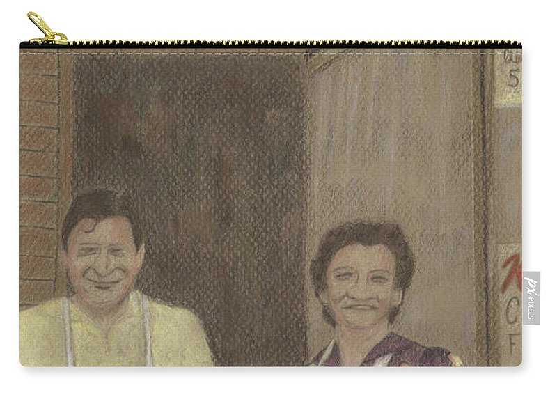Market Carry-all Pouch featuring the drawing The Butcher And His Wife by Arlene Crafton