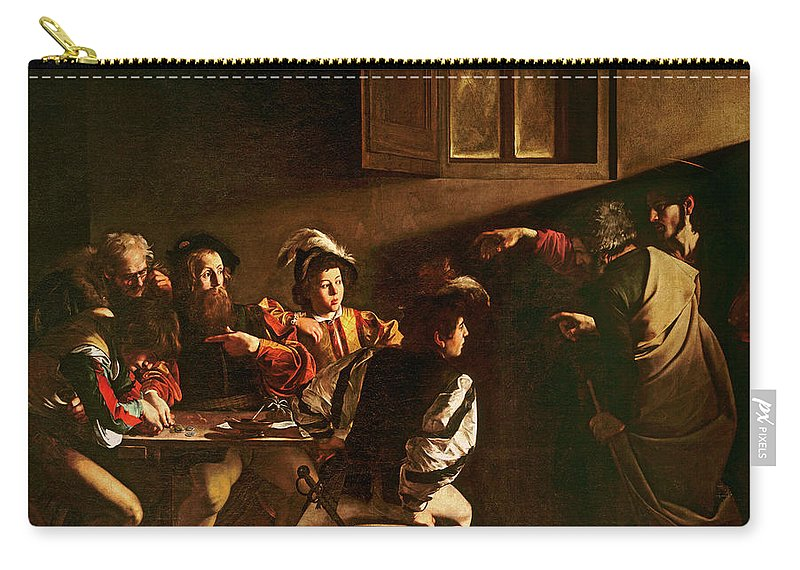 Chiaroscuro Carry-all Pouch featuring the painting The Calling Of St Matthew by Michelangelo Merisi o Amerighi da Caravaggio