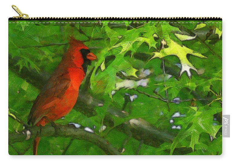 The Cardinal 2 Painterly Carry-all Pouch featuring the digital art The Cardinal 2 Painterly by Ernie Echols