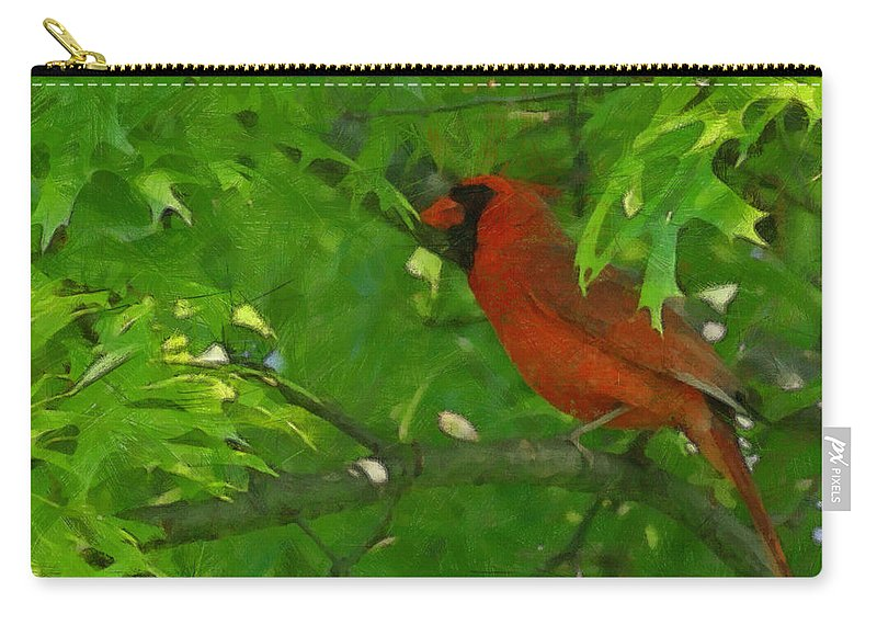 The Cardinal Painterly Carry-all Pouch featuring the digital art The Cardinal Painterly by Ernie Echols