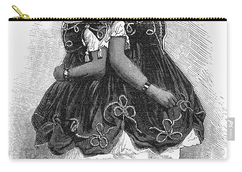 1866 Carry-all Pouch featuring the drawing The Carolina Twins, 1866 by Granger