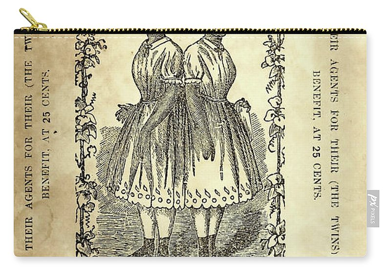 1860 Carry-all Pouch featuring the drawing The Carolina Twins, C1869 by Granger