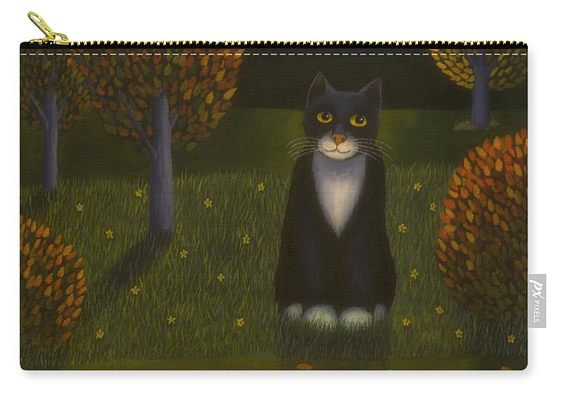 Art Carry-all Pouch featuring the painting The Cat And The Moon by Veikko Suikkanen