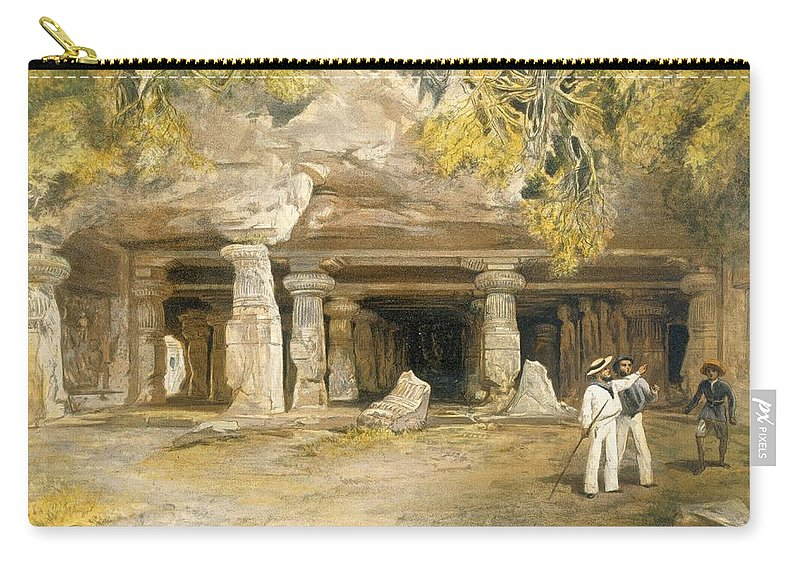 Indian Carry-all Pouch featuring the drawing The Cave Of Elephanta, From India by William 'Crimea' Simpson