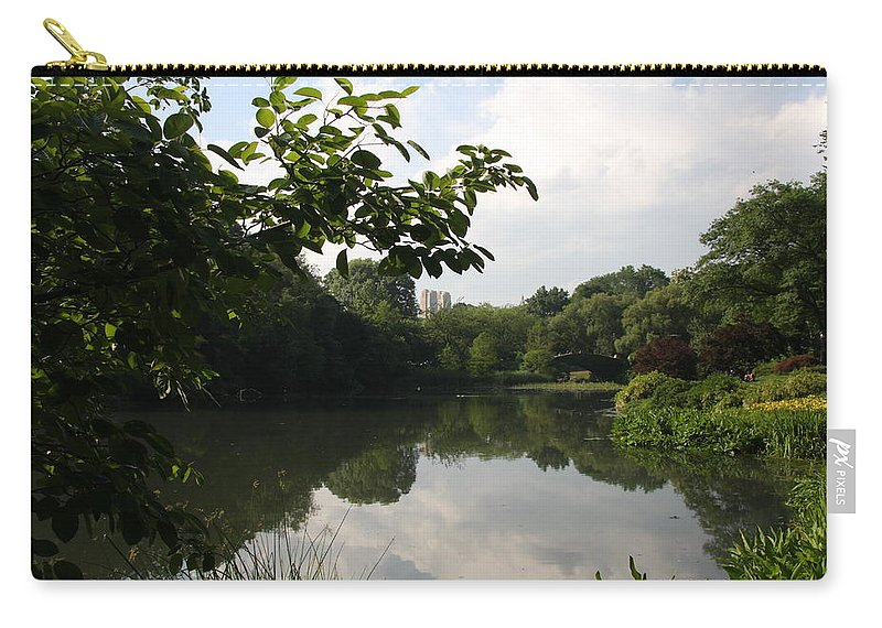 Pond Carry-all Pouch featuring the photograph The Central Park Pond by Christiane Schulze Art And Photography