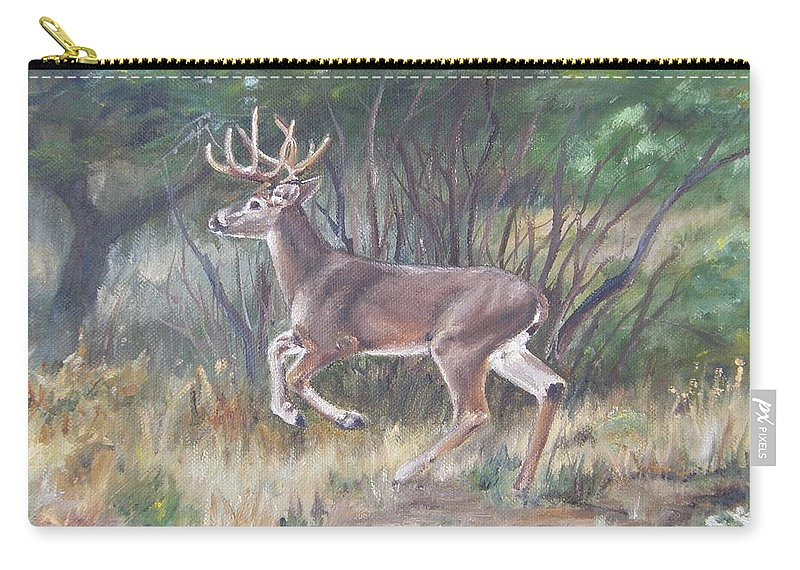Deer Carry-all Pouch featuring the painting The Chase Is On by Lori Brackett