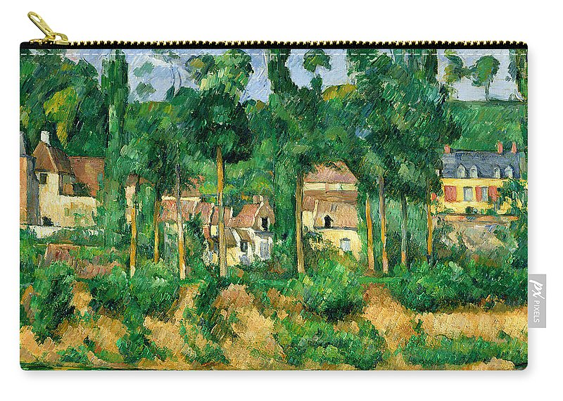Reflection Carry-all Pouch featuring the painting The Chateau De Medan, C.1880 by Paul Cezanne