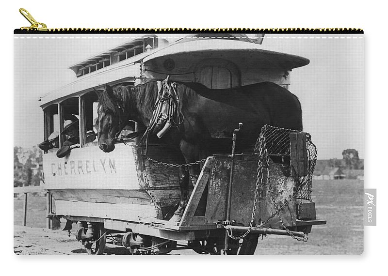 1890 Carry-all Pouch featuring the photograph The Cherrelyn Horse Car by Underwood Archives