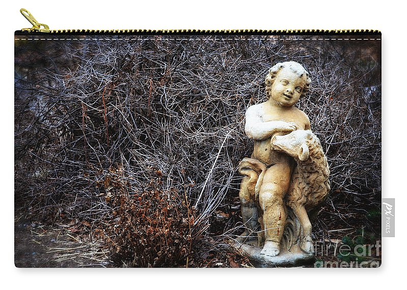 The Cherub And The Lamb Carry-all Pouch featuring the photograph The Cherub And The Lamb by Mary Machare