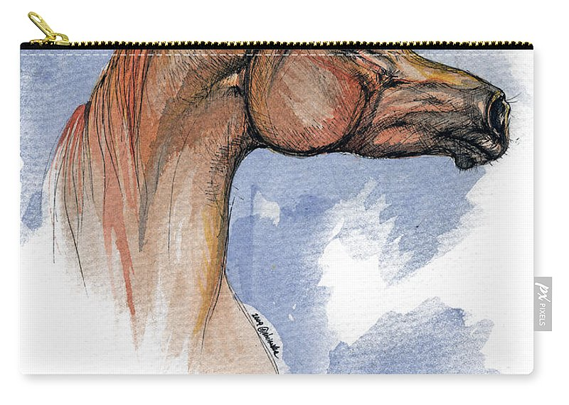Arabian Carry-all Pouch featuring the painting The Chestnut Arabian Horse 4 by Angel Ciesniarska