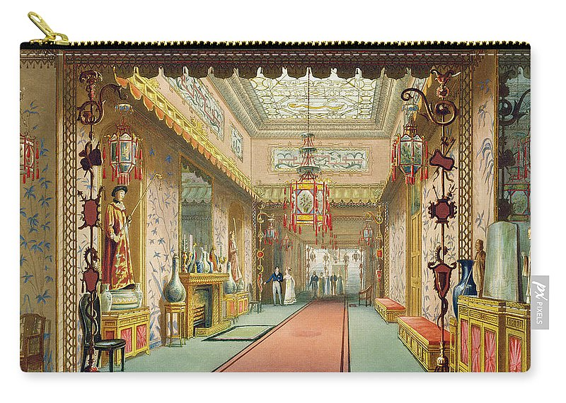 Chinoiserie Carry-all Pouch featuring the drawing The Chinese Gallery, From Views by English School