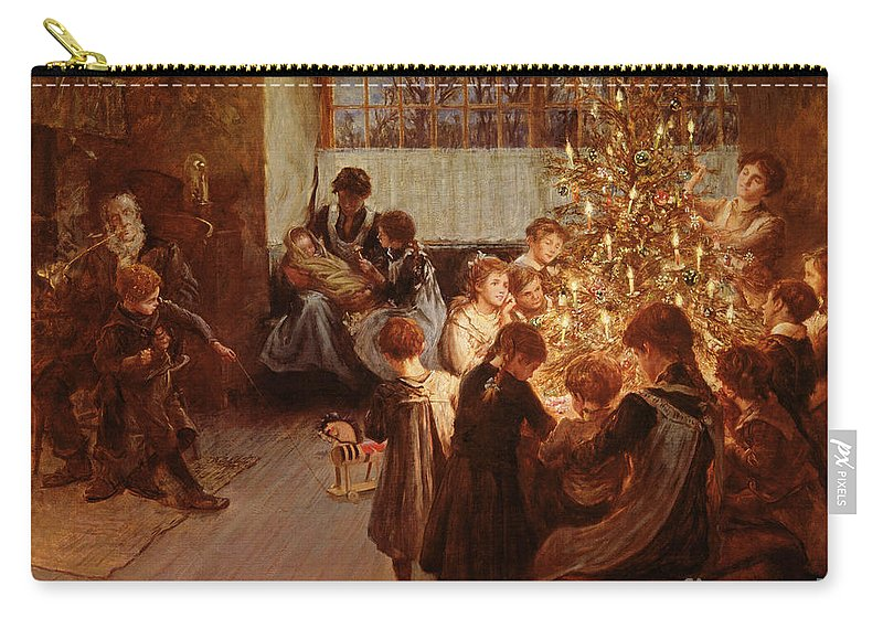 Victorian Sentiment Carry-all Pouch featuring the painting The Christmas Tree by Albert Chevallier Tayler
