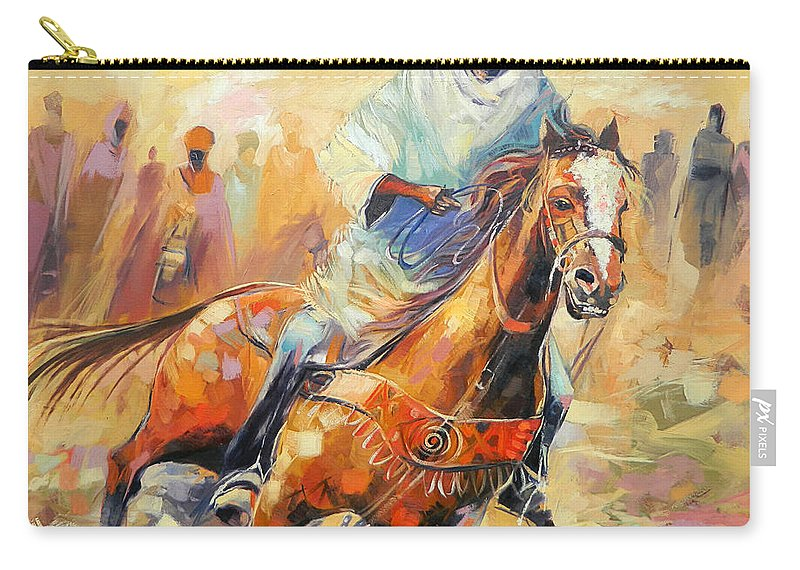 Horse Carry-all Pouch featuring the painting The Clear Leader by Said Oladejo-lawal