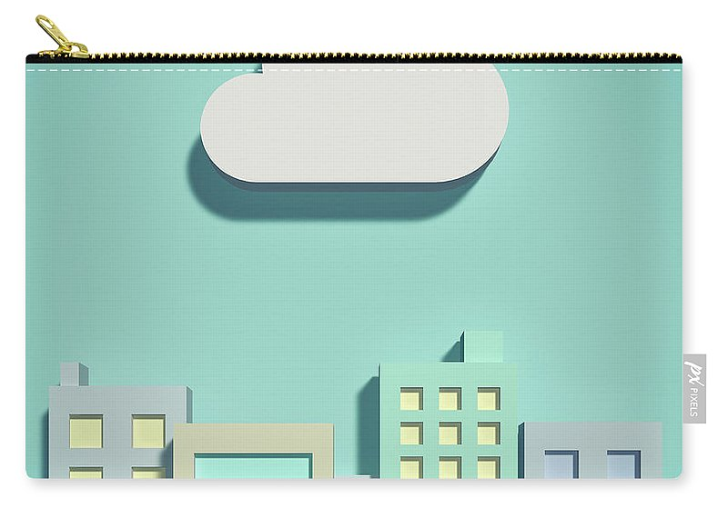 White Background Carry-all Pouch featuring the digital art The Cloud Network And Office Buildings by Yagi Studio