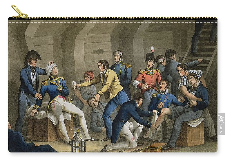 Aboukir Bay Carry-all Pouch featuring the drawing The Cockpit, Battle Of The Nile by William Heath