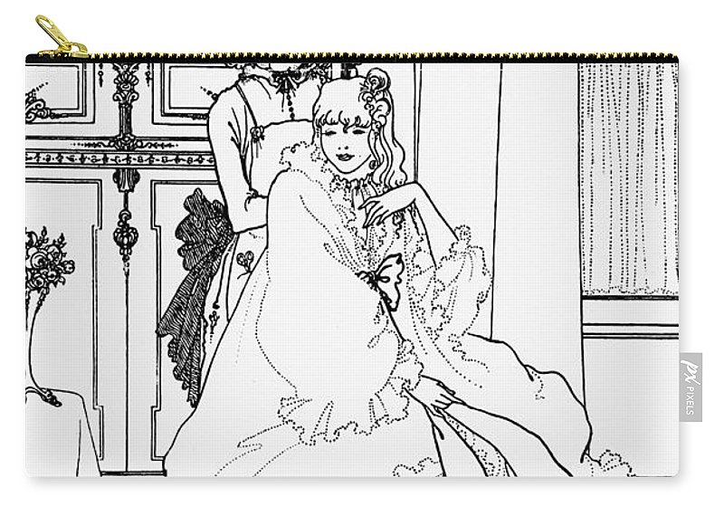 Aubrey Carry-all Pouch featuring the drawing The Coiffing by Aubrey Beardsley