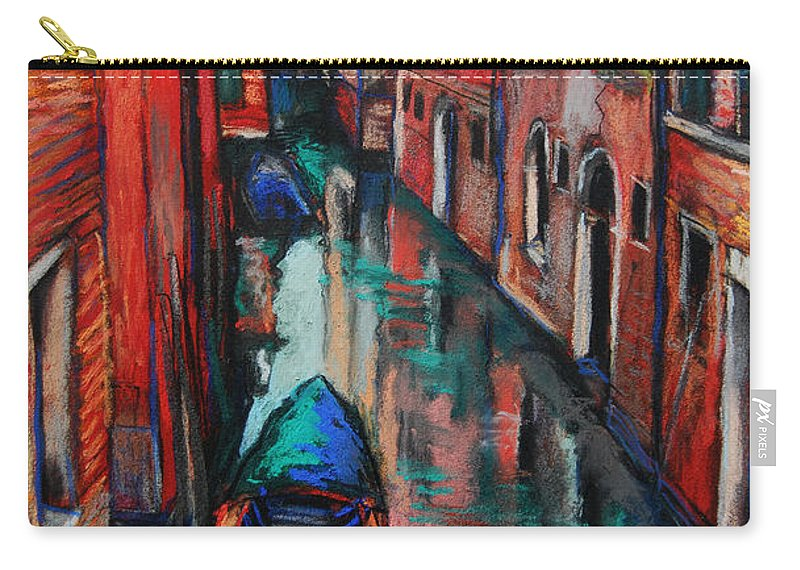 The Colors Of Venice Carry-all Pouch featuring the painting The Colors Of Venice by Mona Edulesco