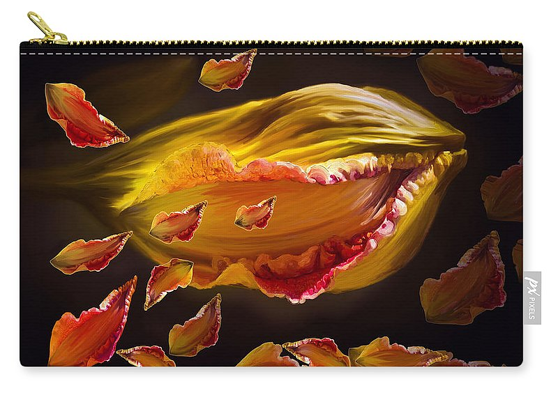 Flower Carry-all Pouch featuring the painting The Contagion Of Laughter by Angela Stanton