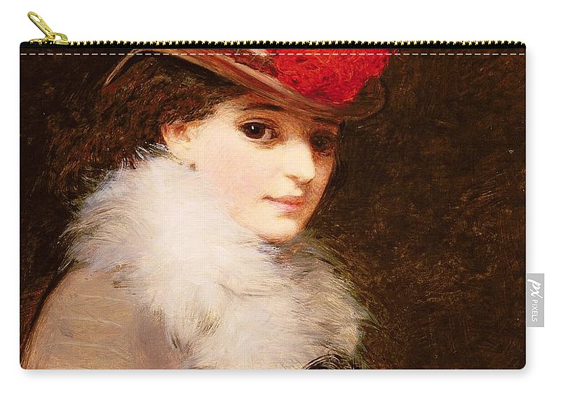 Fur Collar Carry-all Pouch featuring the painting The Coquette, 1863 by James Hayllar