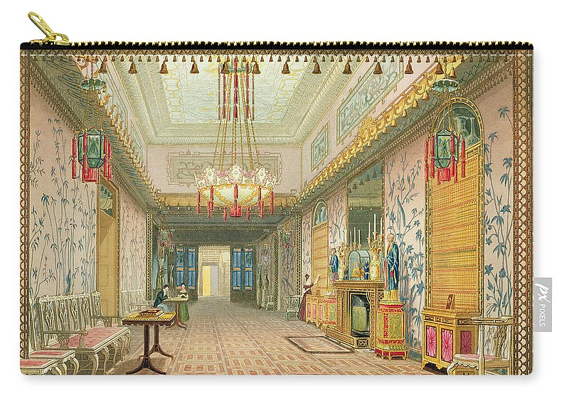 Bamboo Carry-all Pouch featuring the drawing The Corridor Or Long Gallery by English School
