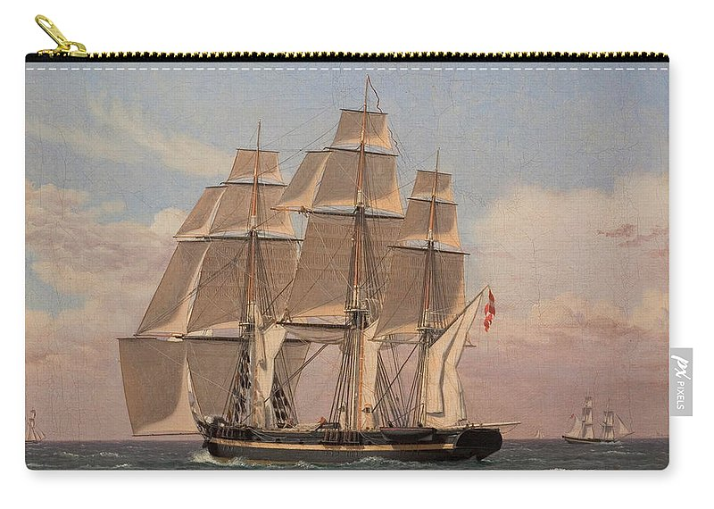Christoffer Wilhelm Eckersberg Carry-all Pouch featuring the painting The Corvette Najaden Under Sail by Christoffer Wilhelm Eckersberg