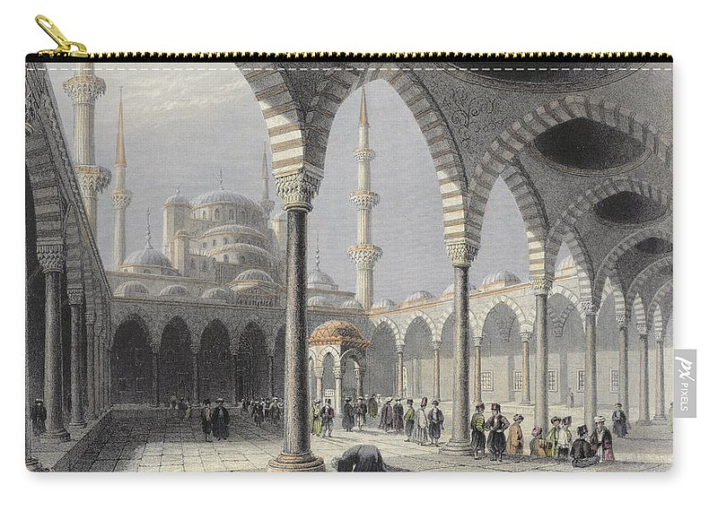 Islamic Carry-all Pouch featuring the drawing The Court Of The Mosque Of Sultan by William Henry Bartlett