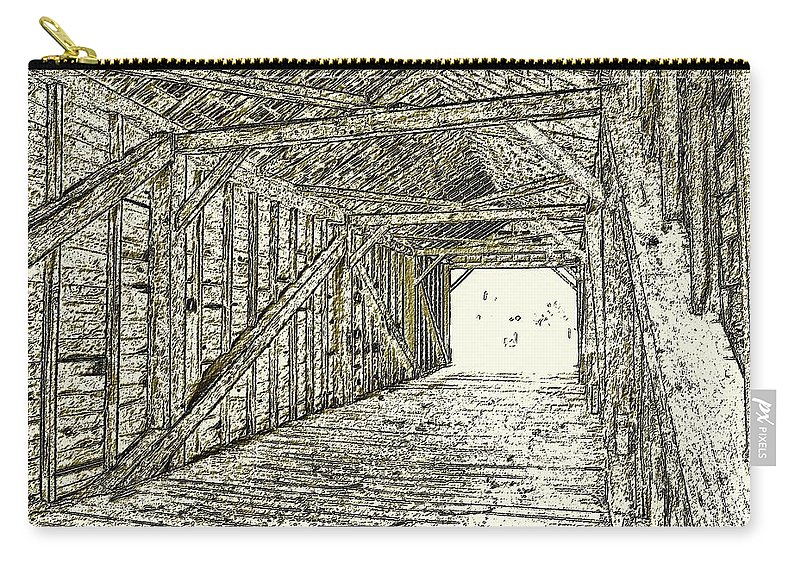 Carry-all Pouch featuring the photograph The Covered Bridge Dm 1 by Daniel Thompson