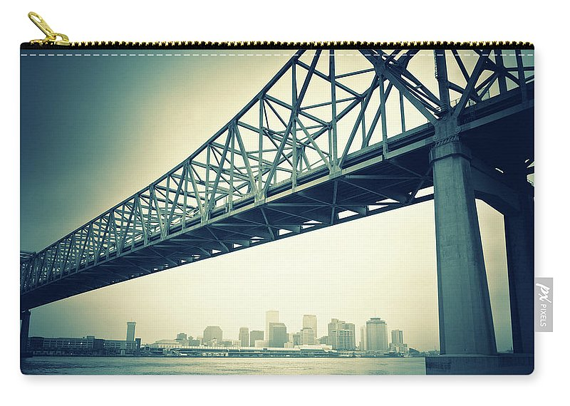 Desaturated Carry-all Pouch featuring the photograph The Crescent City Connection In New by Moreiso