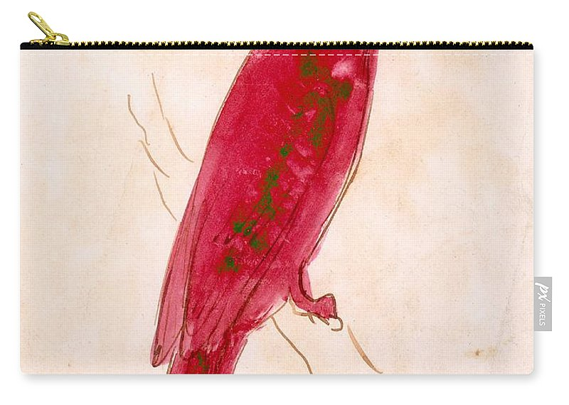 Perched Carry-all Pouch featuring the drawing The Crimson Bird by Edward Lear