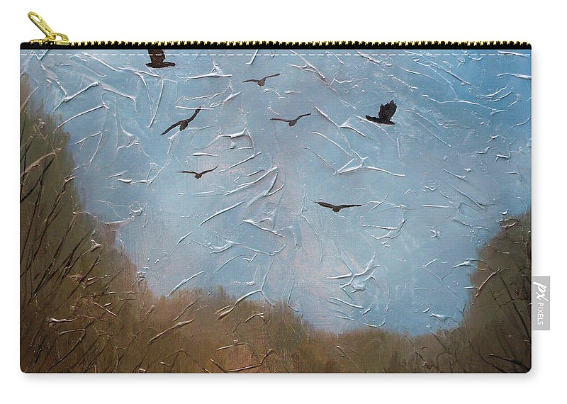 Landscape Carry-all Pouch featuring the painting The crows by Sergey Bezhinets