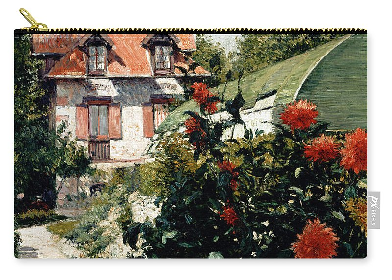 House Carry-all Pouch featuring the painting The Dahlias Garden At Petit Gennevilliers by Gustave Caillebotte